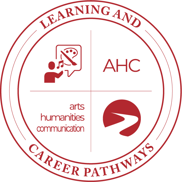 Learning & Career Pathways arts humanities communication AHC whistling painter icon, logo.