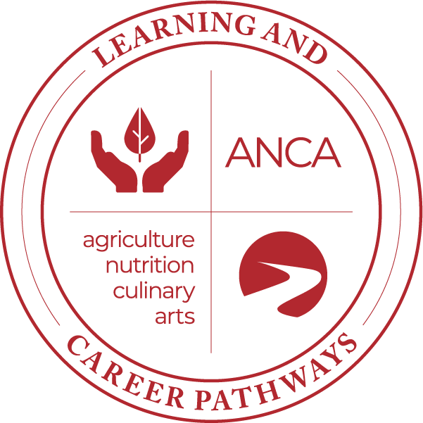 Learning & Career Pathways agriculture nutrition culinary arts ANCA hands with leaf icon, logo.