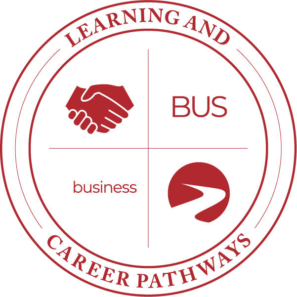 Learning & Career Pathways Business BUS with hands shaking icon, logo.