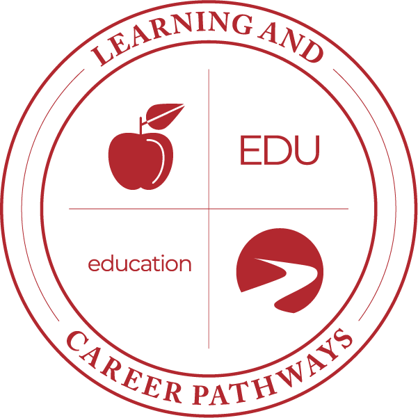Learning & Career Pathways education EDU with apple icon, logo.
