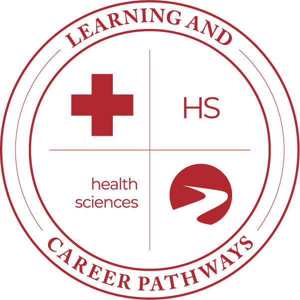 Learning & Career Pathways health sciences HS with cross, logo.