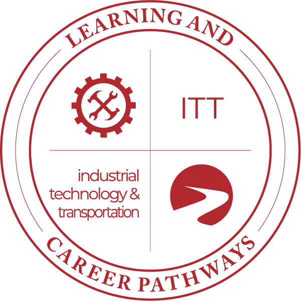 Learning & Career Pathways industrial transportation & technology ITT with gear and tools icon, logo.