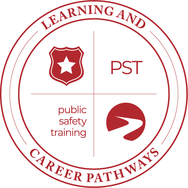 Learning & Career Pathways public safety training with star on shield icon, logo.