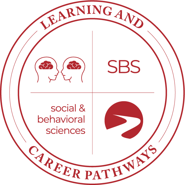 Learning & Career Pathways social & behavioral sciences SBS with heads with brains facing each other icon, logo.