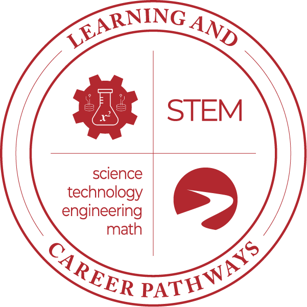 Learning & Career Pathways science technology engineering math STEM, with cog and beaker icon, logo.